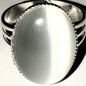 Jewelry - 5 Cat Eye Silver Plated Adjustable Rings